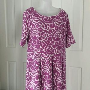 Boden purple and white floral short sleeve dress
